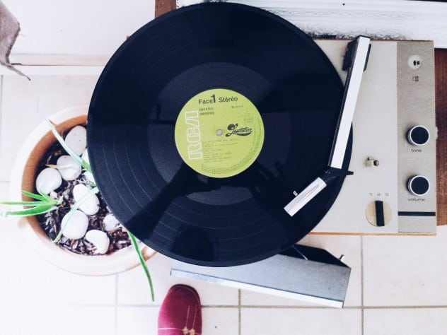 Dance party with vintage record player