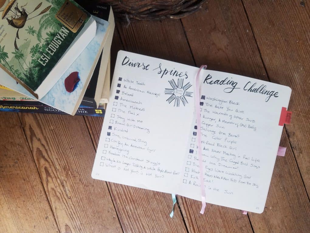 Bullet Journal SPread of DIverse Spines Reading Challenge